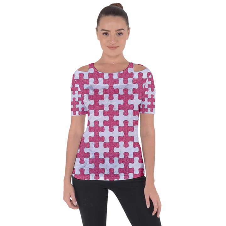 PUZZLE1 WHITE MARBLE & PINK DENIM Short Sleeve Top