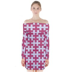 Puzzle1 White Marble & Pink Denim Long Sleeve Off Shoulder Dress
