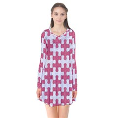 Puzzle1 White Marble & Pink Denim Flare Dress