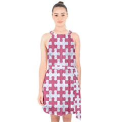 Puzzle1 White Marble & Pink Denim Halter Collar Waist Tie Chiffon Dress