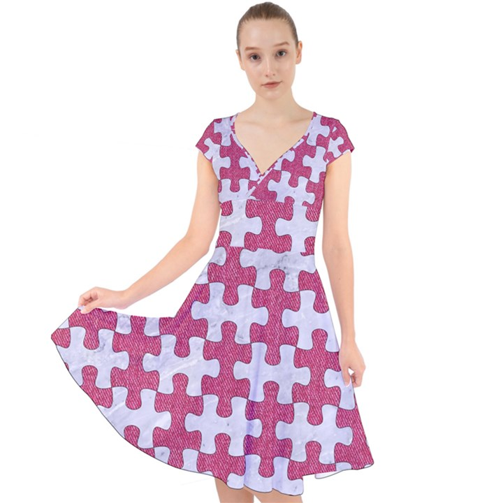 PUZZLE1 WHITE MARBLE & PINK DENIM Cap Sleeve Front Wrap Midi Dress