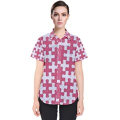 Puzzle1 White Marble & Pink Denim Women s Short Sleeve Shirt