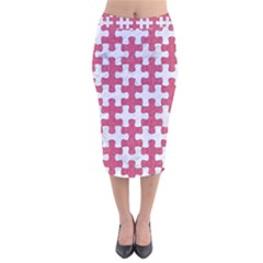 Puzzle1 White Marble & Pink Denim Velvet Midi Pencil Skirt