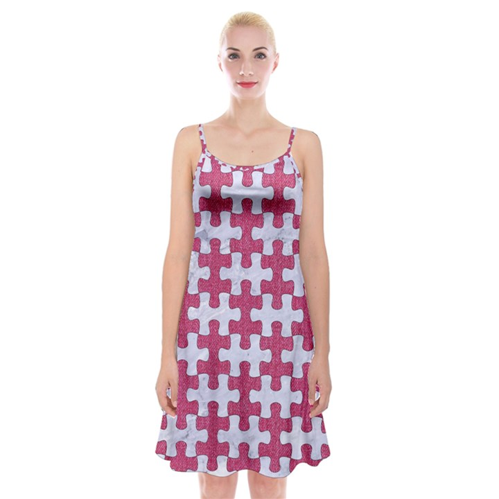 PUZZLE1 WHITE MARBLE & PINK DENIM Spaghetti Strap Velvet Dress