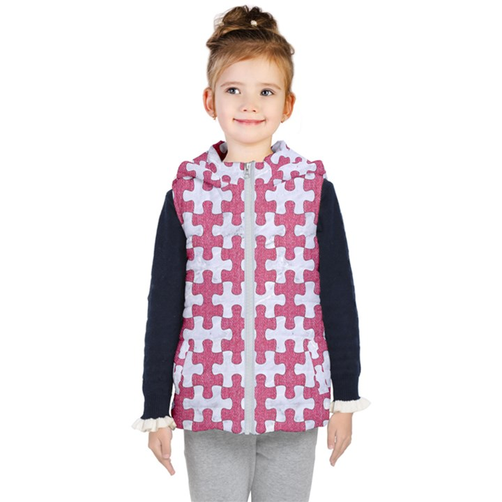 PUZZLE1 WHITE MARBLE & PINK DENIM Kid s Hooded Puffer Vest