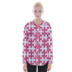 Puzzle1 White Marble & Pink Denim Womens Long Sleeve Shirt