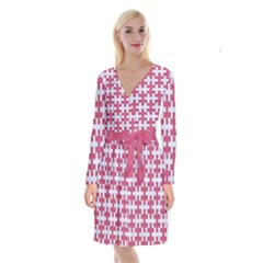 Puzzle1 White Marble & Pink Denim Long Sleeve Velvet Front Wrap Dress