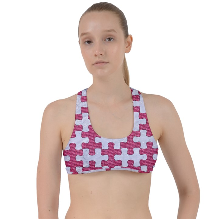 PUZZLE1 WHITE MARBLE & PINK DENIM Criss Cross Racerback Sports Bra