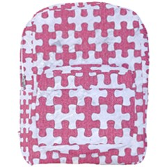 Puzzle1 White Marble & Pink Denim Full Print Backpack by trendistuff