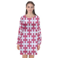 Puzzle1 White Marble & Pink Denim Long Sleeve Chiffon Shift Dress