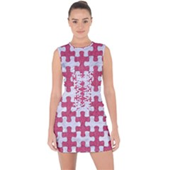 Puzzle1 White Marble & Pink Denim Lace Up Front Bodycon Dress