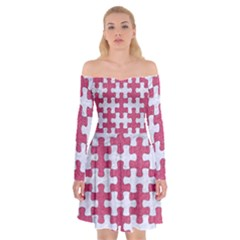 Puzzle1 White Marble & Pink Denim Off Shoulder Skater Dress