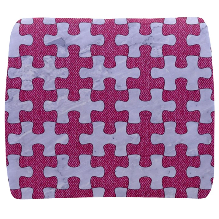 PUZZLE1 WHITE MARBLE & PINK DENIM Back Support Cushion