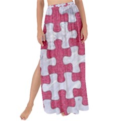 Puzzle1 White Marble & Pink Denim Maxi Chiffon Tie Up Sarong