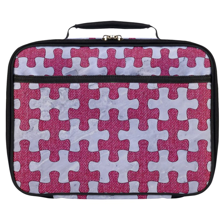 PUZZLE1 WHITE MARBLE & PINK DENIM Full Print Lunch Bag
