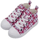PUZZLE1 WHITE MARBLE & PINK DENIM Kid s Mid-Top Canvas Sneakers View2