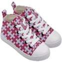PUZZLE1 WHITE MARBLE & PINK DENIM Kid s Mid-Top Canvas Sneakers View3