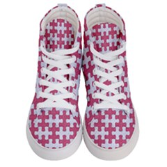 Puzzle1 White Marble & Pink Denim Women s Hi Top Skate Sneakers