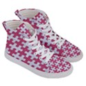 PUZZLE1 WHITE MARBLE & PINK DENIM Women s Hi-Top Skate Sneakers View3