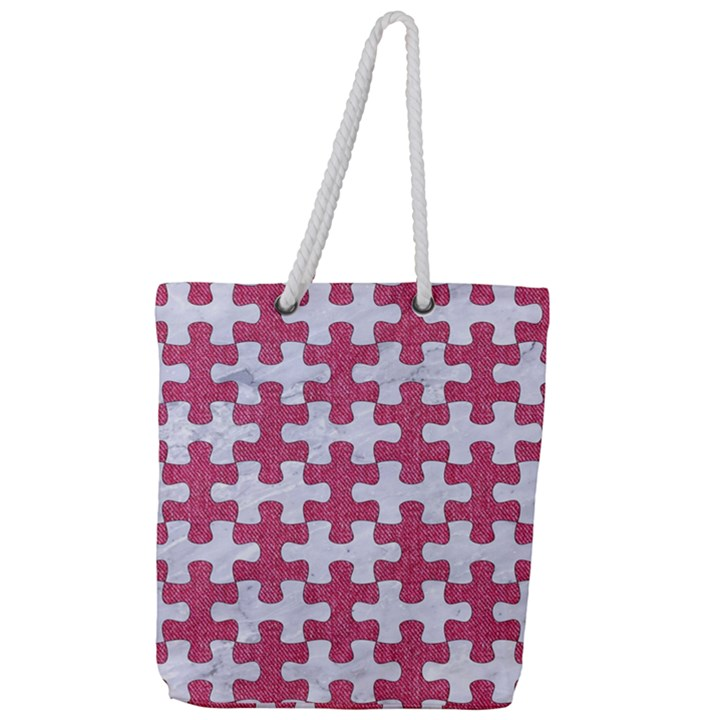 PUZZLE1 WHITE MARBLE & PINK DENIM Full Print Rope Handle Tote (Large)