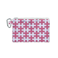 Puzzle1 White Marble & Pink Denim Canvas Cosmetic Bag (small) by trendistuff