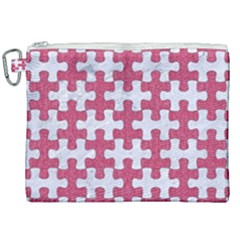 Puzzle1 White Marble & Pink Denim Canvas Cosmetic Bag (xxl) by trendistuff