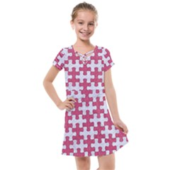 Puzzle1 White Marble & Pink Denim Kids  Cross Web Dress