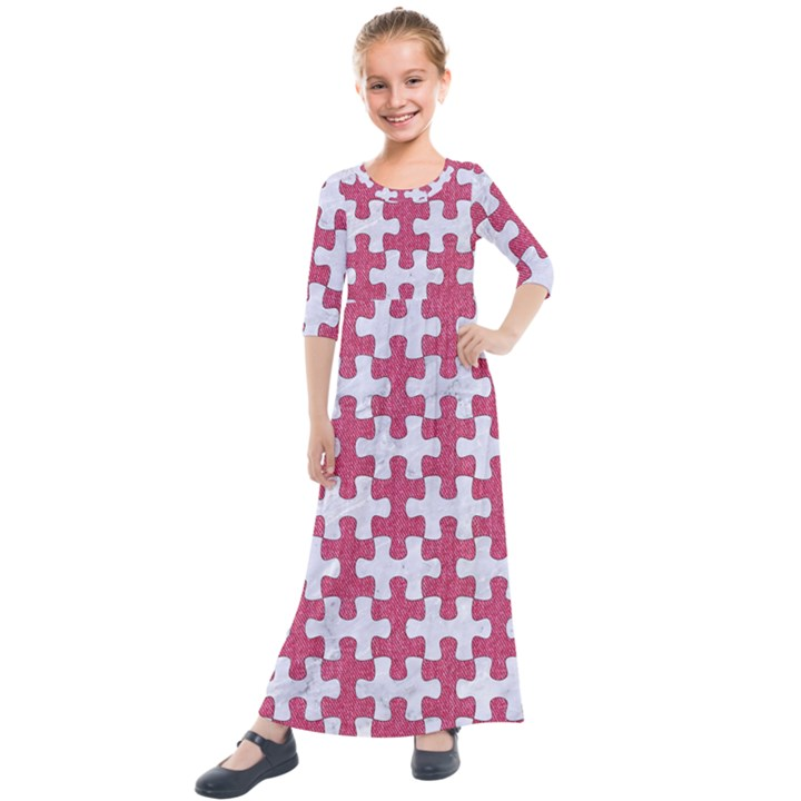 PUZZLE1 WHITE MARBLE & PINK DENIM Kids  Quarter Sleeve Maxi Dress