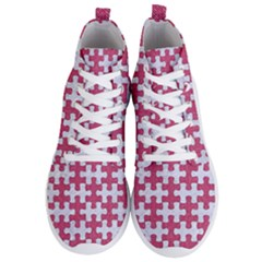 Puzzle1 White Marble & Pink Denim Men s Lightweight High Top Sneakers