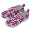 PUZZLE1 WHITE MARBLE & PINK DENIM Velcro Strap Shoes View2