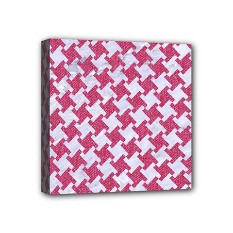 HOUNDSTOOTH2 WHITE MARBLE & PINK DENIM Mini Canvas 4  x 4