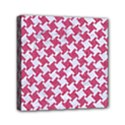 HOUNDSTOOTH2 WHITE MARBLE & PINK DENIM Mini Canvas 6  x 6  View1