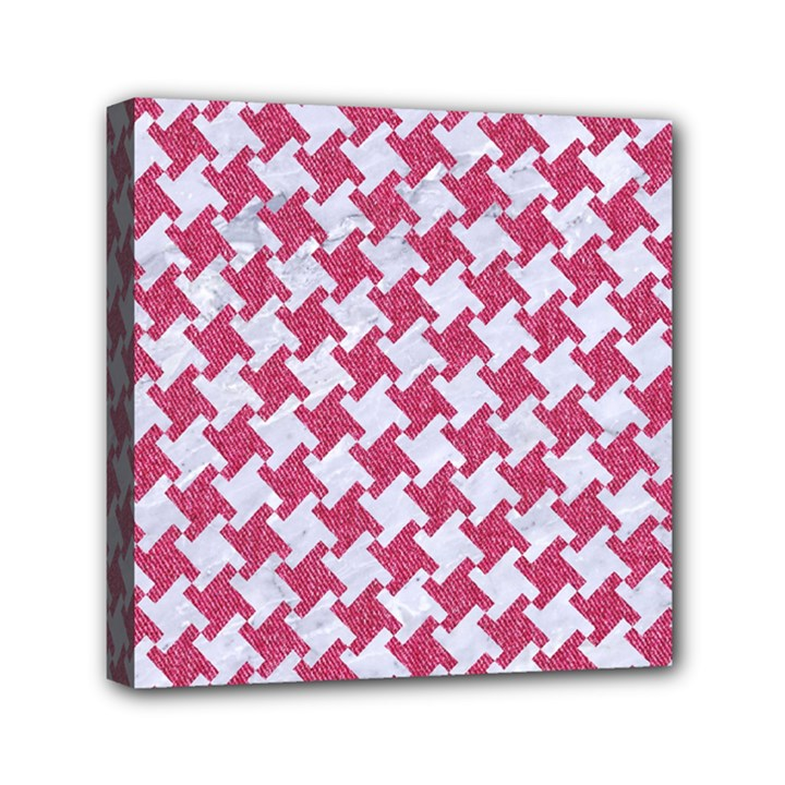 HOUNDSTOOTH2 WHITE MARBLE & PINK DENIM Mini Canvas 6  x 6