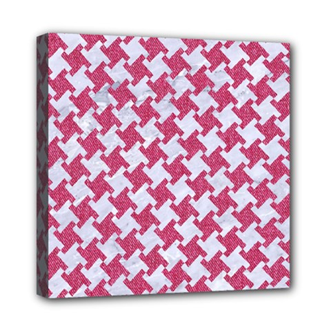 Houndstooth2 White Marble & Pink Denim Mini Canvas 8  X 8