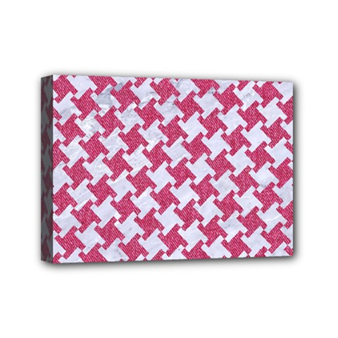 HOUNDSTOOTH2 WHITE MARBLE & PINK DENIM Mini Canvas 7  x 5