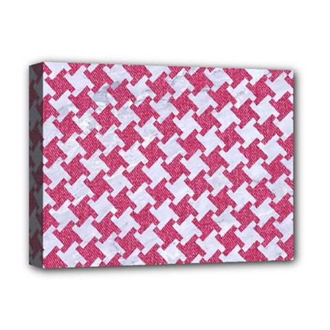 HOUNDSTOOTH2 WHITE MARBLE & PINK DENIM Deluxe Canvas 16  x 12