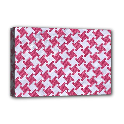 HOUNDSTOOTH2 WHITE MARBLE & PINK DENIM Deluxe Canvas 18  x 12