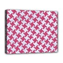 HOUNDSTOOTH2 WHITE MARBLE & PINK DENIM Deluxe Canvas 20  x 16   View1