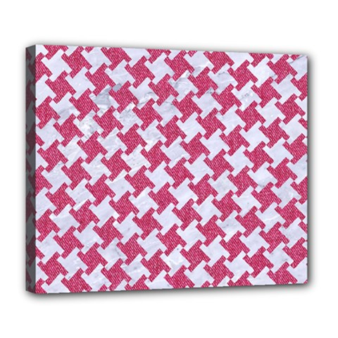Houndstooth2 White Marble & Pink Denim Deluxe Canvas 24  X 20   by trendistuff