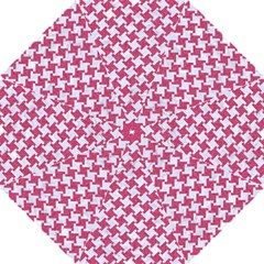 Houndstooth2 White Marble & Pink Denim Hook Handle Umbrellas (small) by trendistuff