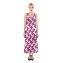 HOUNDSTOOTH2 WHITE MARBLE & PINK DENIM Sleeveless Maxi Dress