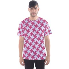 HOUNDSTOOTH2 WHITE MARBLE & PINK DENIM Men s Sports Mesh Tee