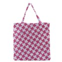 HOUNDSTOOTH2 WHITE MARBLE & PINK DENIM Grocery Tote Bag View1