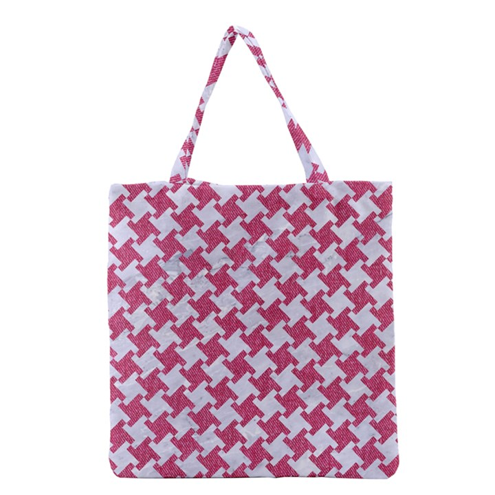HOUNDSTOOTH2 WHITE MARBLE & PINK DENIM Grocery Tote Bag
