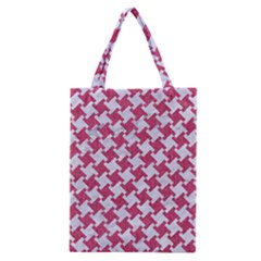 Houndstooth2 White Marble & Pink Denim Classic Tote Bag by trendistuff