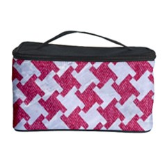 Houndstooth2 White Marble & Pink Denim Cosmetic Storage Case by trendistuff