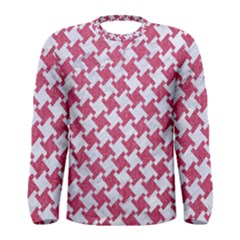 Houndstooth2 White Marble & Pink Denim Men s Long Sleeve Tee