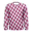 HOUNDSTOOTH2 WHITE MARBLE & PINK DENIM Men s Long Sleeve Tee View1