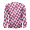 HOUNDSTOOTH2 WHITE MARBLE & PINK DENIM Men s Long Sleeve Tee View2