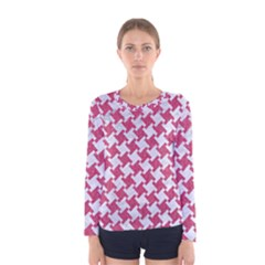 Houndstooth2 White Marble & Pink Denim Women s Long Sleeve Tee
